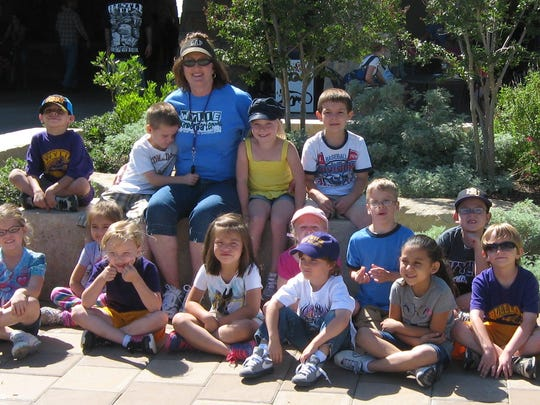 One of Mary Powell's former Wylie kindergarten classes poses for a photo during a field trip at the Abilene Zoo.