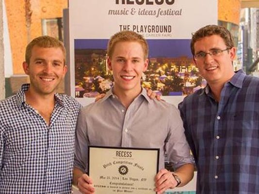 Founders Deuce (left) and Jack (right) congratulate 2014 Indiana pitch winne