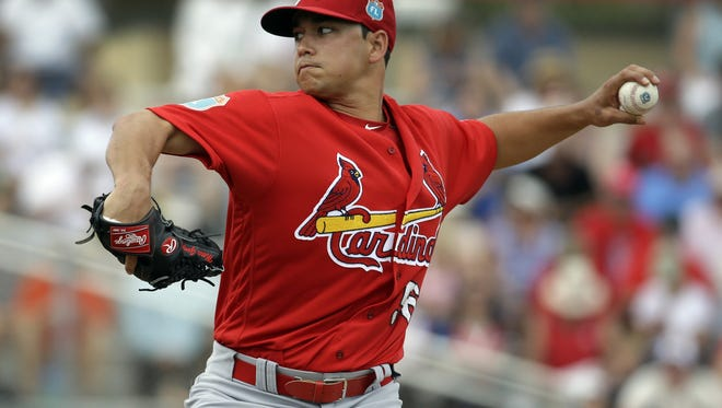 Rocky Mountain High School graduate Marco Gonzales, shown in a spring training game, is throwing well for the Cardinals Triple-A affiliate in his return from Tommy John surgery.