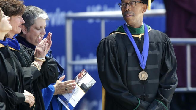 Then-Chancellor Michael V. Drake at the University of California, Irvine's Class of 2014 commencement ceremony in 2014.