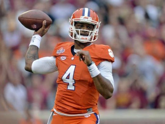 Clemson quarterback Deshaun Watson throws a pass during the first half of an NCAA college football game against Florida State in Clemson, S.C.America team.