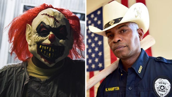 Clown vs. cop: To the left a creepy clown is shown in a file photo and Tchula Police Chief Kenneth Hampton is shown on the right.