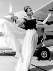 Barbara Foster at Palm Springs Municipal Airport c. 1965.