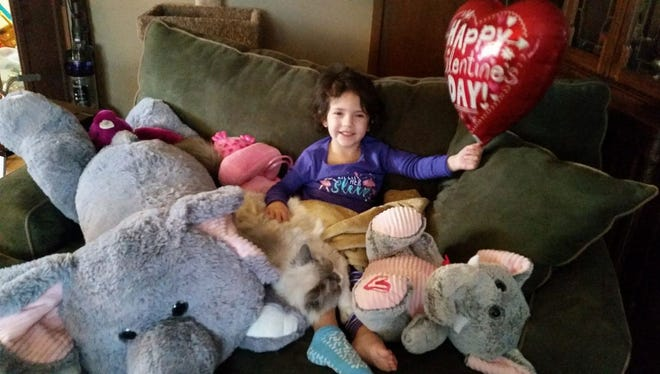 Avaya Braatz, 3, following her return home to Sheboygan in February after a battle with complication from Influenza B.