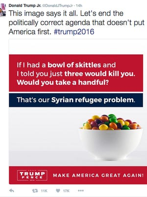 """This screenshot shows the tweet posted on Monday, Sept. 19, 2016, by Donald Trump Jr., in which he compares Syrian refugees to a bowl of poisoned Skittles. The post caused a stir and negative tweets on the internet into Tuesday, including a terse response from Skittles' parent company, Wrigley Americas. """"Skittles are candy. Refugees are people. We don't feel it's an appropriate analogy,"""" Vice President of Corporate Affairs Denise Young said in the statement."""