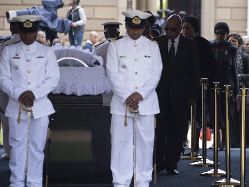 South Africa's former president Nelson Mandela lying in state at the Union Buildings in Pretoria on Dec. 11, 2013.
