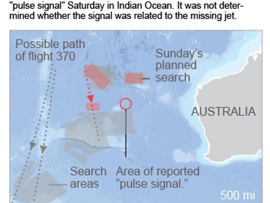Two column map shows search areas for the missing Malaysia Airlines jet.