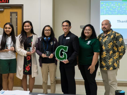 In collaboration with the National Center for Women and Information Technology, the University of Guam honored three local high school students with the NCWIT Aspirations in Computing Award. Pictured from left: University of Guam Dean of the School of Nursing and Health Science Dr. Margaret Hattori-Uchima, UOG President Dr. Robert Underwood, John F. Kennedy High School student Allysandra Raymundo, Simon Sanchez High School student Annielee Rae Quiogue, Tiyan High School student Bianca De Los Angeles, UOG Chief Information Officer Rommel Hidalgo, Guam Affiliate Coordinator Jaevani Isidro and UOG Director of Development and Alumni Affairs Norman Analista.