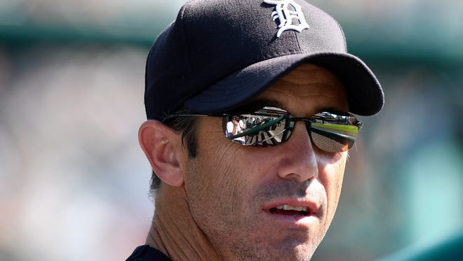Detroit Tigers manager Brad Ausmus watches the third inning of a baseball game against the Minnesota Twins, Sunday, Sept. 24, 2017, in Detroit.