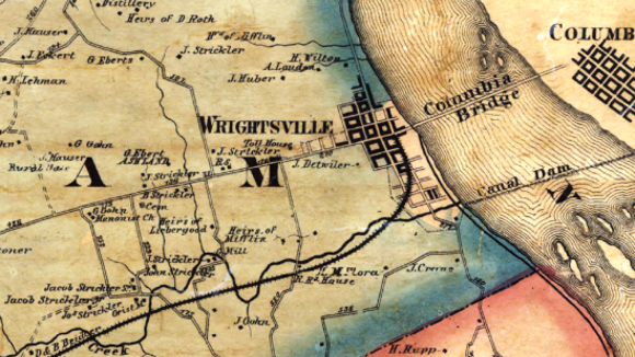 Detail from the 1860 Shearer & Lake Map of York County. Volunteers John Peart and William Hess rode west from Wrightsville on the gravel turnpike toward York to try to determine if the Confederates really were approaching. (PHMC)