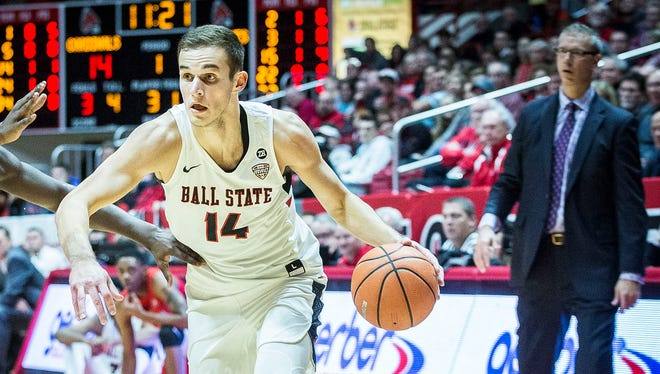 Ball State's Kyle Mallers drives against Stony Brook 87-76 at Worthen Arena Friday, Nov. 17, 2017.