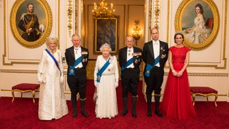 Camilla, Duchess of Cornwall, left, Prince Charles, Prince of Wales, Queen Elizabeth II, Prince Philip, Duke of Edinburgh, Prince William, Duke of Cambridge and Catherine, Duchess of Cambridge.