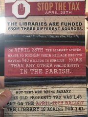 This flyer opposing renewal of a Lafayette Parish library tax was paid for by a newly formed PAC.