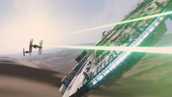 """A scene from """"Star Wars: Episode VII — The Force Awakens."""""""
