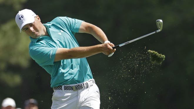 Jordan Spieth had six birdies and six tough par saves on the first day of the Masters. He won it last year.