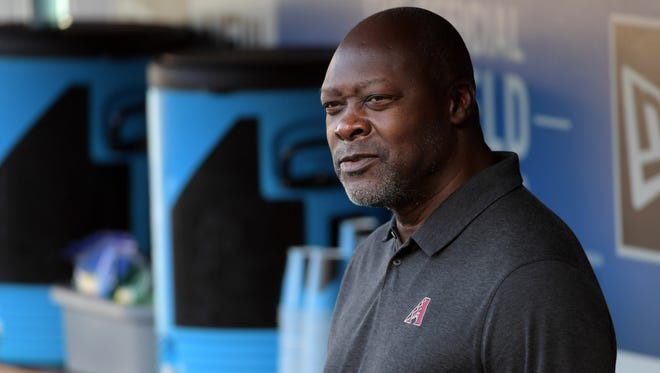 Arizona Diamondbacks general manager Dave Stewart reacts during an MLB game against the Los Angeles Dodgers at Dodger Stadium.