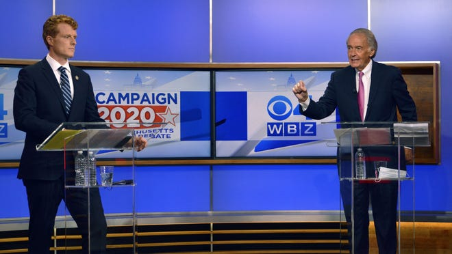 U.S. Rep. Joseph Kennedy III, left, and U.S. Sen. Ed Markey debate last Tuesday in Boston. The two are running for the Democratic nomination to U.S. Senate.