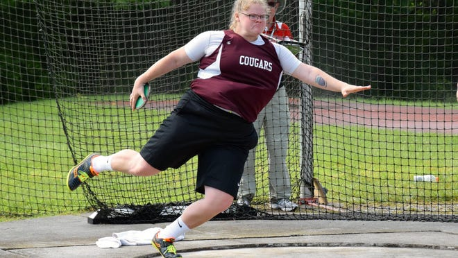 Stuarts Draft's Paetyn Beverly competes in the girls discus at the Group 2A meet on Friday, June 3, 2016, at Radford University.