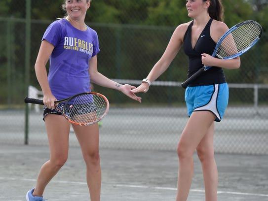 Lexi Bolesky (left) and Courtney Schaub  celebrate