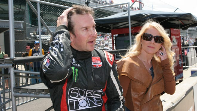 FILE -- Kurt Busch and ex-girlfriend Patricia Driscoll at the Indianapolis Motor Speedway, May, 18, 2014.