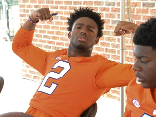 Clemson quarterback Kelly Bryant poses during fan day