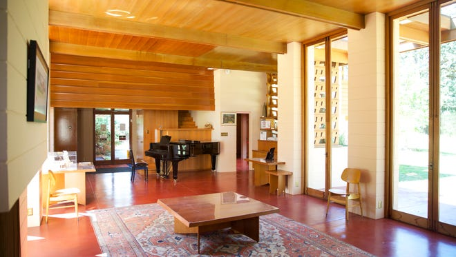 The living room off the entry of Frank Lloyd Wright's Gordon House is seen July 10, 2014, in Silverton, Ore. (AP Photo/The Oregonian, Randy L. Rasmussen)