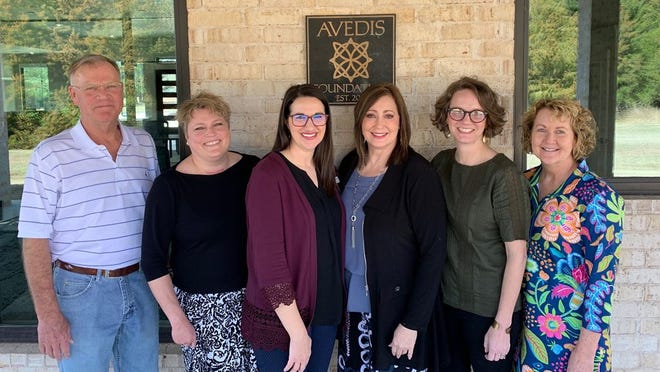Shown, from left, are Mark Finley, Avedis Foundation board chair; Tracy Meeuwsen, Avedis program director; Lacey Holt, Legacy Parenting executive director; Avedis President Dr. Kathy Laster; Lauren Thomas, Legacy Parenting board member; and Audrey Seeliger, Avedis program officer.