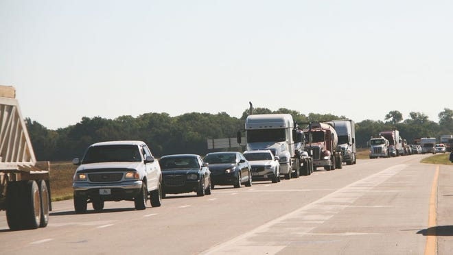 Highway traffic stood still for more than 30 minutes as the Kansas Highway Patrol cleared an accident scene east of Pratt on Thursday.