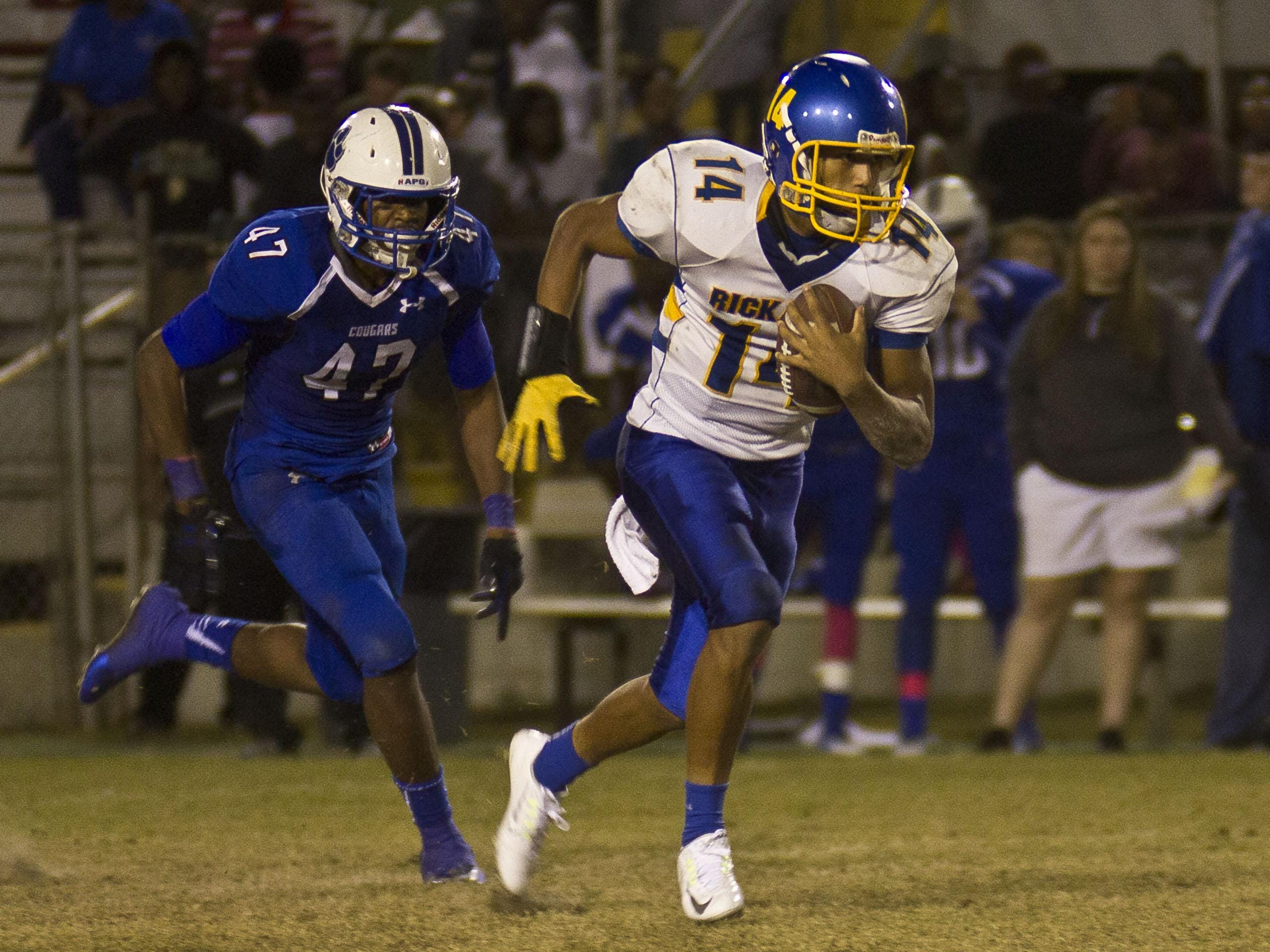 Rickards quarterback D.J. Phillips and company look to snap Godby's long streak of making the playoffs. The two teams will fight for one playoff spot tonight at Gene Cox Stadium.