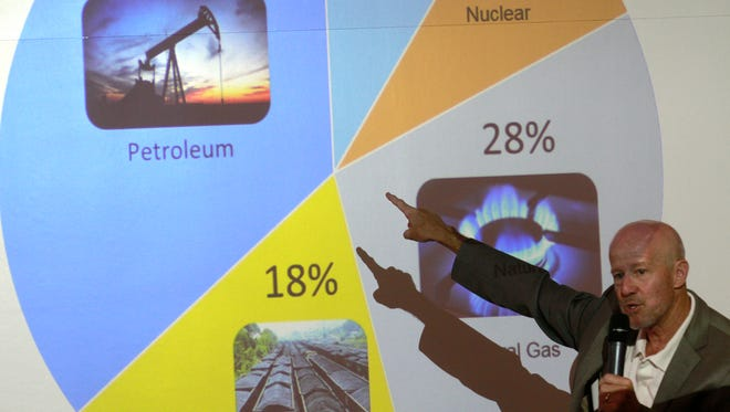 Merrion Oil & Gas Corporation President T. Greg Merrion gives a presentation Tuesday at San Juan College School of Energy in Farmington. Merrion and others are promoting quotas on oil imports as a way to stabilize the domestic oil and gas industry.