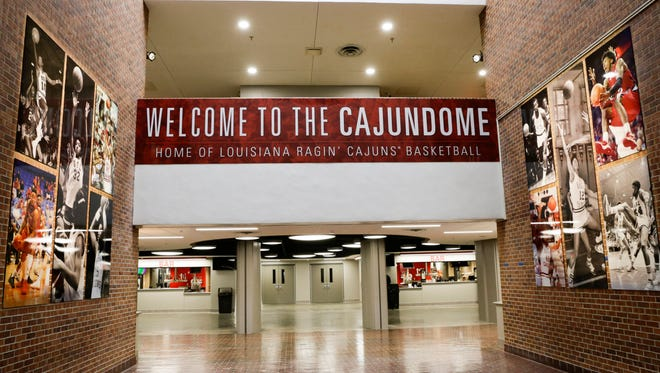 New signage welcomes visitors to the newly-renovated Cajundome, which has been transformed into a shrine for UL basketball.