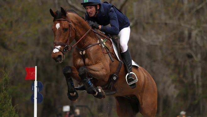 Matthew Flynn rides his horse Get Lucky during the Red Hills Horse Trials, the 20th anniversary of the Tallahassee event on Saturday, March 10, 2018.