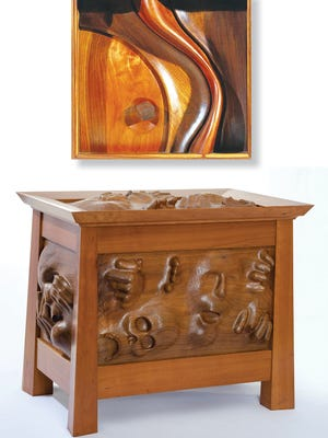 """Among the pieces featured in """"Woodworks"""" are, at bottom, """"War Chest"""" by John Casey, and """"Moon Strand"""" by Dirck Cruser."""