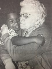 The Handy-O (Hugs Are Necessary for Developing Young and Old) program at the Medco Center in Morganfield proved successful in it's first year in March 1990. Here, a Medco resident hugs a student from Head Start.