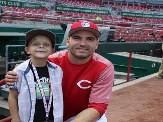 """Walter """"SuperBubz"""" Herbert and Cincinnati Reds first baseman Joey Votto. A dedication program for the Build it for Bubz playground is set for noon Saturday, April 14"""