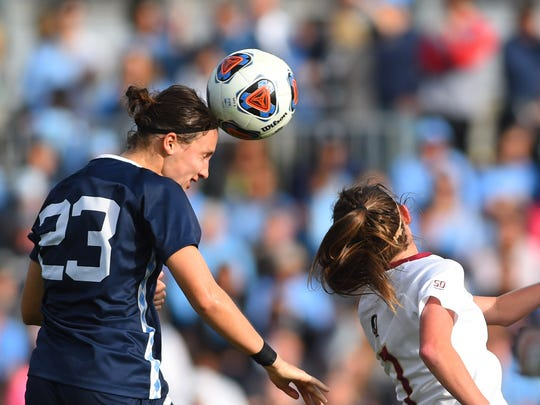 North Carolina Tar Heels defender Lotte Wubben-Moy heads the ball as Florida State Seminoles midfielder Dallas Dorosy  defends in the second half. The Seminoles defeated the Tar Heels 1-0 at WakeMed Soccer Park.
