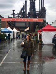 Jenna Intersimone in front of Bethlehem Steel at the