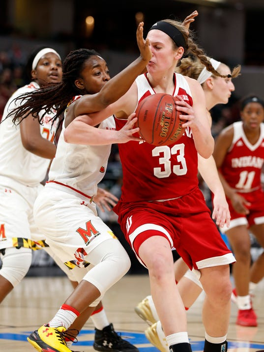 Indiana's Amanda Cahill (33) plays against Maryland's Channise Lewis, front left, during the first half of an NCAA college basketball game in the Big Ten women's tournament, Friday, March 2, 2018, in Indianapolis, Ind. (Jeremy Hogan/The Herald-Times via AP)