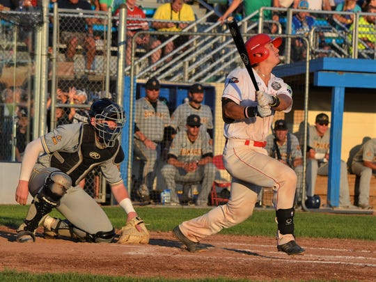 Battle Creek Bombers Alec Cargin takes a swing during