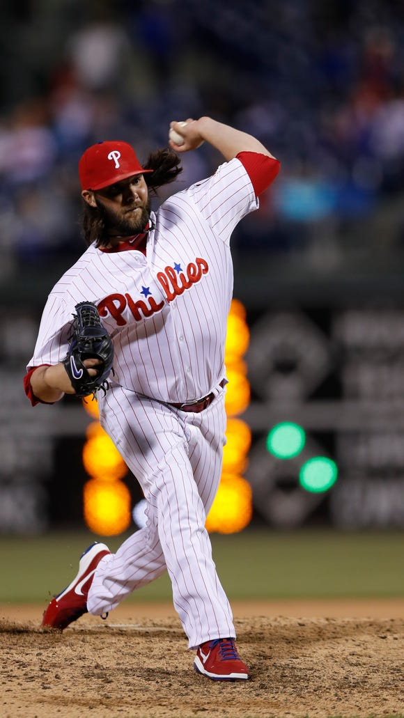 Phillies' James Russell in action during a baseball