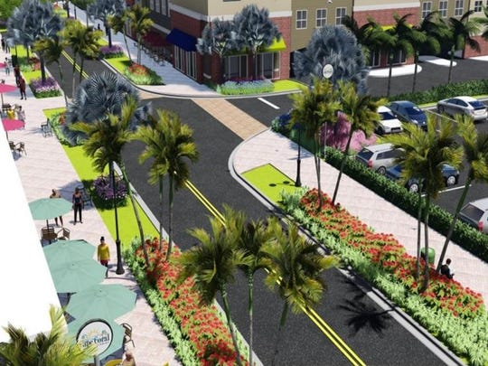 A projection of the widened sidewalks the city plans to implement on 47th Terrace between Coronado Parkway and Del Prado Boulevard.