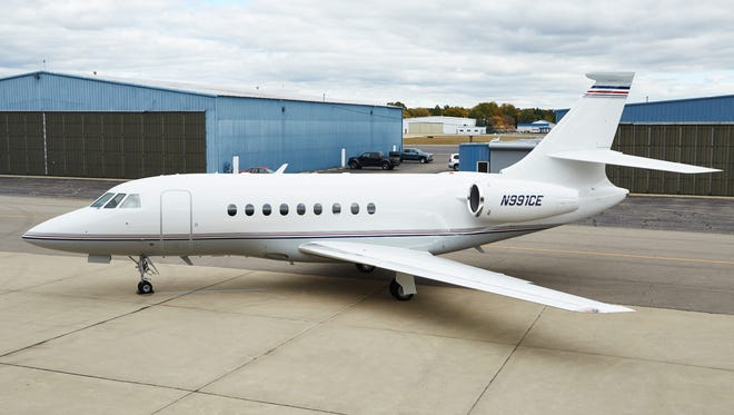 Falcon 2000, one of the planes in Corporate Eagle's fleet at Oakland County International Airport in Waterford.