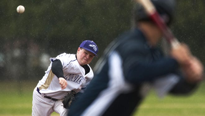 St. Mike's Curt Echo (2) delivers a pitch during the men's baseball game between the St. Anselm Hawks and the St. Michael's Purple Knights at Doc Jacobs Field on Wednesday afternoon April 22, 2015 in Colchester.