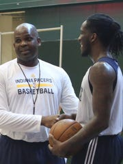 Pacers coach Nate McMillan welcomes Taurean Prince of Baylor during a pre-draft workout at Bankers Life Fieldhouse Wednesday, June 15, 2016.