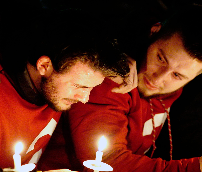 Former Washington State quarterback Luke Falk cries during a memorial service for Tyler Hilinski on Jan. 19.