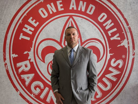 Jim Harris of the Ragin' Cajuns Athletic Foundation inside the new athletic complex at UL