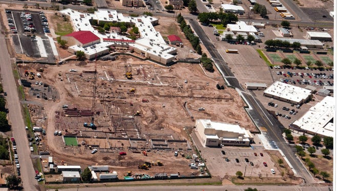 This aerial photograph by local photographer Bob Hudgens' was taken Thrusday, Aug. 11, 2016, and shows the progress in construction of the new Deming High School. The photo was taken from the north, looking south. The pilot is Robert Benavidez.