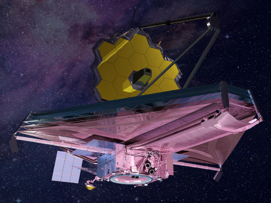 Concept image of NASA's flagship James Webb Space Telescope, a successor to the Hubble Space Telescope. The space agency has delayed until March 30, 2021, the observatory's targeted launch from South America on an Ariane 5 rocket.
