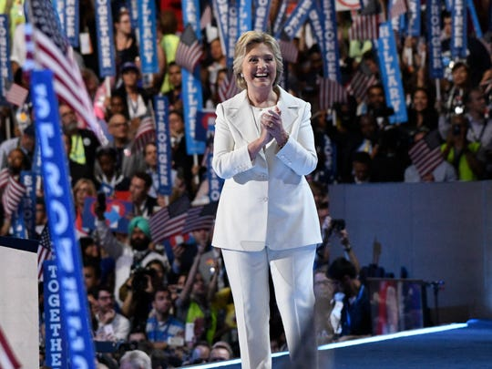 Hillary Clinton at the Democratic convention in Philadelphia on July 28, 2016, where she became the first woman to accept the presidential nomination of a major U.S. political party.