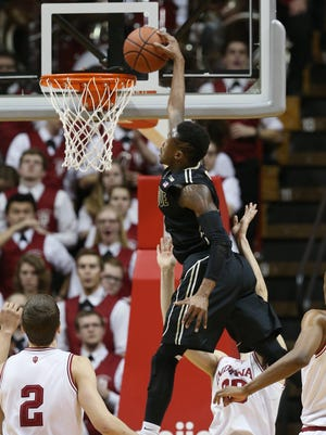 Purdue Boilermakers guard Jon Octeus comes through with a monster slam dunk in the second half versus Indiana at Assembly Hall on  Feb. 19, 2015.